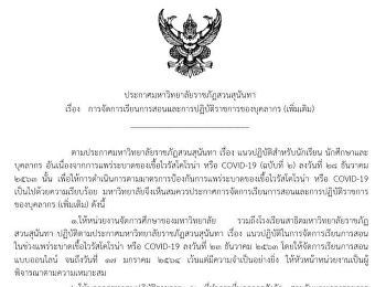 Announcement of Suan Sunandha Rajabhat University Guidelines